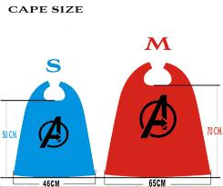 Cape Size Chart Groot Avengers Superhero Kids Cape Mask Costume