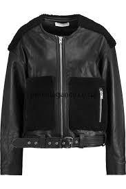 xy31817 iro comfortable biker jackets black women s bouclé paneled leather jacket