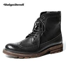 US6 10 <b>British Style Mens</b> Genuine <b>Leather</b> Lace Up Brogue Boots ...