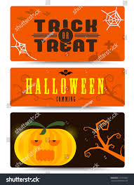 Halloween Business Cards Halloween Banner Collection Flat Design Halloween Stock