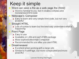 Lecture 2 Building Web Pages 1 Lecture 2  Building Web Pages ...