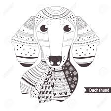Dachshund Coloring Book For Adult Antistress Coloring Pages Hand Drawn Vector Isolated Illustration On White Background Henna Mehendi Tattoo
