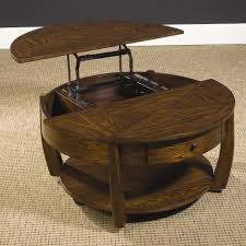 Superb Round Lift Top Tail Table With Lower Shelf And Drawer By Design