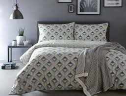 geometric chevron blue grey white piped 100 cotton super king duvet cover