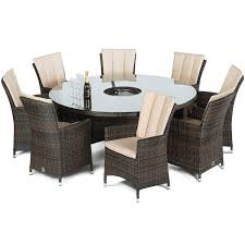 Ice Bucket Table Maze Rattan 8 Seat La Round Dining Garden Furniture Set Brown