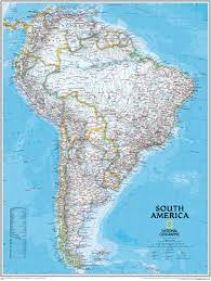 Political South America Wall Map Large Size