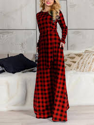 Red Black Tartan Print Plaid Pockets Belt Plus Size Long Sleeve Oversized Casual Bohemian Maxi Dress