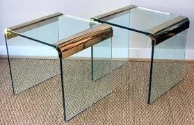 pair of pace furniture leon rosen brass and glass side tables glass side tables contemporary glass