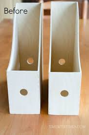 Wooden Magazine Holder Ikea Inspiration Create A DIY Desktop Printer Shelf Using IKEA Magazine File Holders