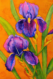 we will use a range of colors to get both cool and warm temperatures so that these irises will glow with warmth