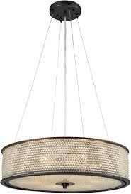 elk 15971 6 glass beads oil rubbed bronze drum pendant lamp loading zoom