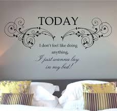 cozy bedroom using unusual bedroom wall art with words of wisdom