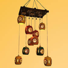 wood metal barrel shaped chandelier with metal hanging shades