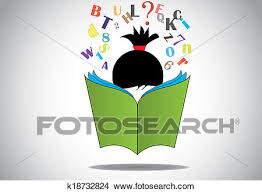 drawing young smart kid reading 3d green open book education concept black haired