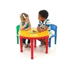 kids dining chairs round plastic construction table 2 chairs play 1