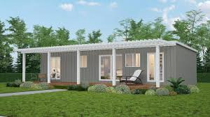 ... Illustration Of A Grey Clad 2 Or 3 Bedroom Tiny House With White  Pergola Over Small