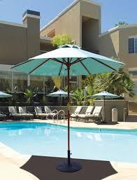 galtech 7 5 ft wood round cafe condo patio umbrella with sunbrella canopy