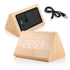modern triangle wood led wooden alarm digital desk clock thermometer classical timer calendar com