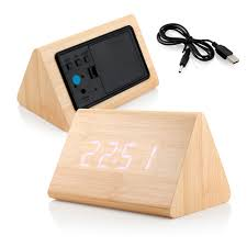 modern triangle wood led wooden alarm digital desk clock thermometer classical timer calendar com
