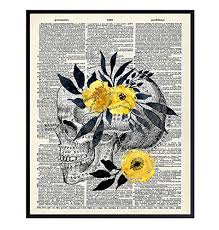Original <b>Floral Skull</b> Dictionary Wall Art Photo - 8x10 <b>Vintage</b> Picture ...