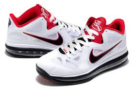 lebron james shoes white and red. nike lebron james 9 low white black red basketball shoes and