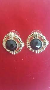 Swarovski SAL Signed Gold Tone Black Crystal Pierce Earrings   eBay