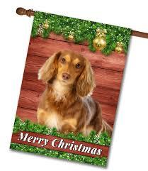 barnwood brown long haired dachshund house flag 28 x 40