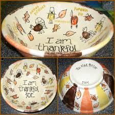 i am thankful for class project using thumb prints pottery painting