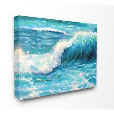 bright teal blue painterly ocean waves