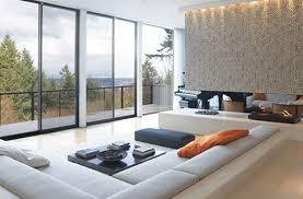 sunken living room with windows