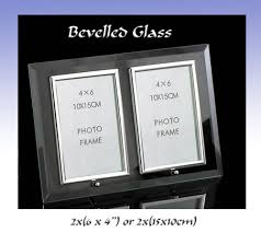 flat bevelled glass double 6 x4 portrait photo frame with silver cushion border 5016107303727