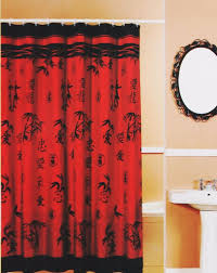 asian bamboo oriental red black fabric shower curtain popular bath 70x72 115882 popularbath asian