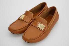 louis vuitton leather driving shoes camel women shoes 34 21 5cm