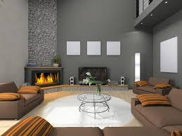 gray living room wall colors with corner electric fireplace and white round wool rug plus laminate wood flooring