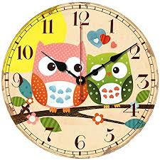 SkyNature Kids Wall Clock, Owl Family MDF Wooden ... - Amazon.com