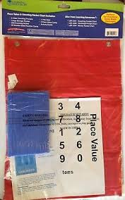 Learning Resources Place Value And Counting Pocket Chart Red W Straws Cards Ebay