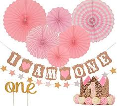 Amazoncom First Birthday Decoration Set For Girl 1st Baby Girl
