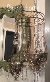 boho chic candle chandelier outdoor wedding crystals galore
