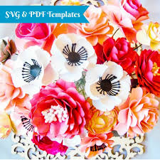 Paper Flower Bouquet Tutorial Svg Paper Flower Cutting Files Diy Paper Flower Templates