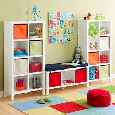 ... Kids Room Storage Ideas Captivating Furniture Idea Double White  Hardwood Cabinet With Cube Shelves Cool Bench ...