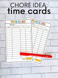 Printable Time Card For The Kids Chore Chart Kids Age