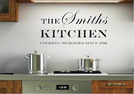 kitchen wall decals your family name and date kitchen white text es wall stickers kitchen wall kitchen wall decals