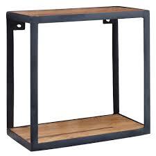 Wohnling Wandregal Piru 35x18x35 Cm Sheesham Massivholz Bücherregal Hängend Metallregal Mit Echtholz Regalboden Kleines Holzregal Quadratisch