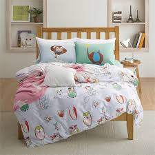 ... Cotton Owl Print Kids Bedding Set Queen Twin Size With Quilt Duvet  Cover ...