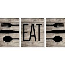 rustic kitchen art print eat fork spoon knife art faux wood on eat kitchen wall art with shop fork and spoon wall art on wanelo