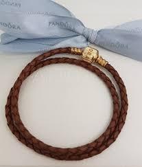 leather gold clasp pandora bracelet