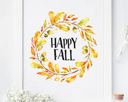 Happy Fall, Fall Print, Fall Decor, Fall Printable, Fall Wall Art,