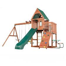 swing n slide willow s peak residential wood playset with swings