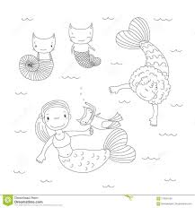 Cute Mermaids Coloring Pages Stock Vector Illustration Of Coloring