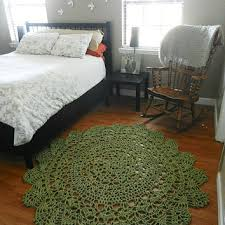 sage green cotton doily crocheted lace rug area rug